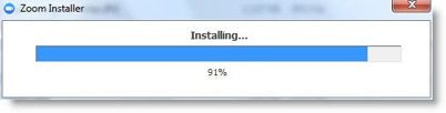 Installation progress bar of Zoom on a Windows computer